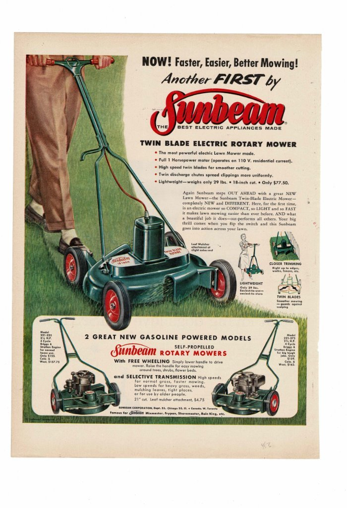 Details about VINTAGE 1956 SUNBEAM GASOLINE POWERED SELF-PROPELLED ROTARY  LAWN MOWER AD PRINT