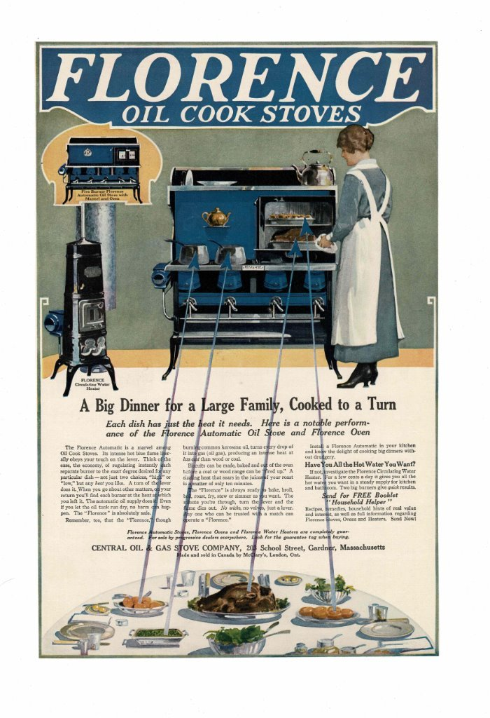 Details about VINTAGE OLD FLORENCE OIL COOK STOVES WATER HEATER MANTEL MOM  IN APRON AD PRINT