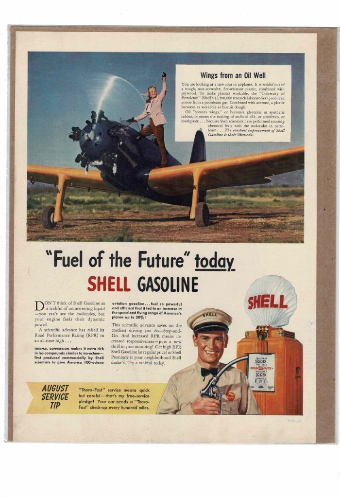 Details about VINTAGE 1941 SHELL GASOLINE FULL SERVICE MOLDED PLASTIC  AIRPLANE AD PRINT #B540