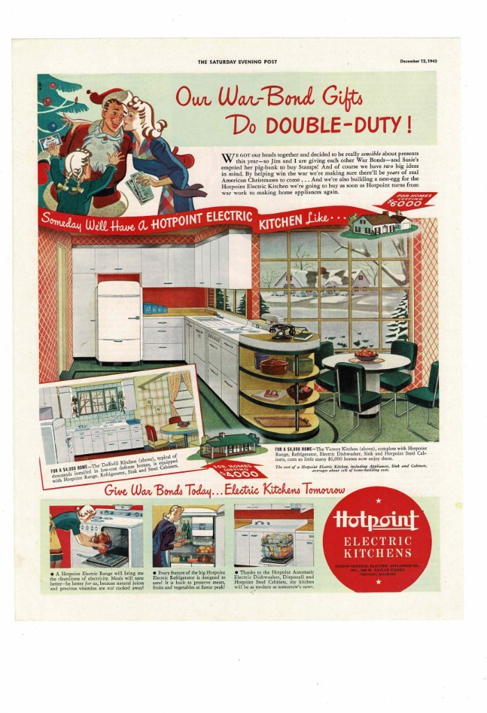 Details About Vintage 1942 Hotpoint Electric Kitchens Cabinets Snow Christmas Ad Print B550