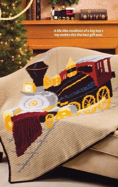 Details about X847 Crochet PATTERN ONLY Locomotive Train Afghan Pattern