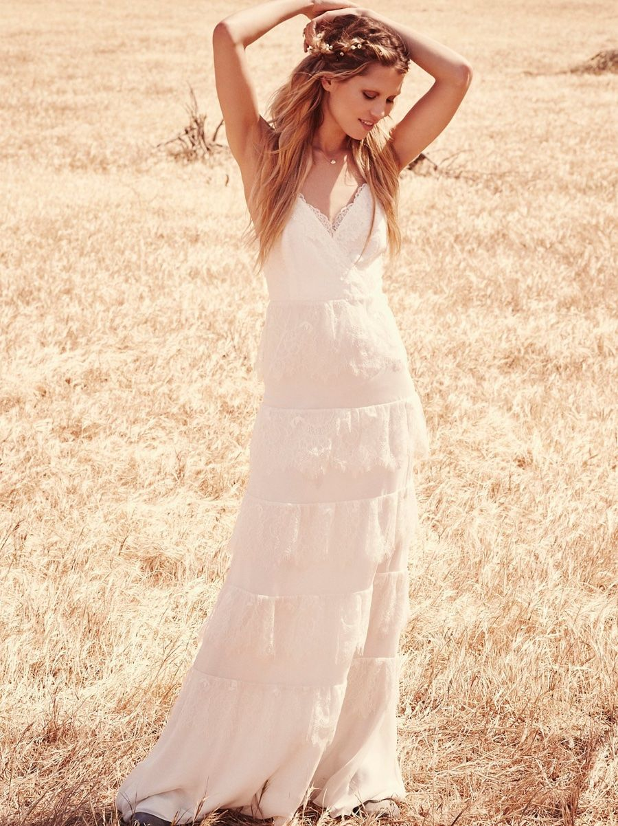Free People Tiered Lace Maxi Wedding Dress 10 378 Msrp 853742004023 Ebay