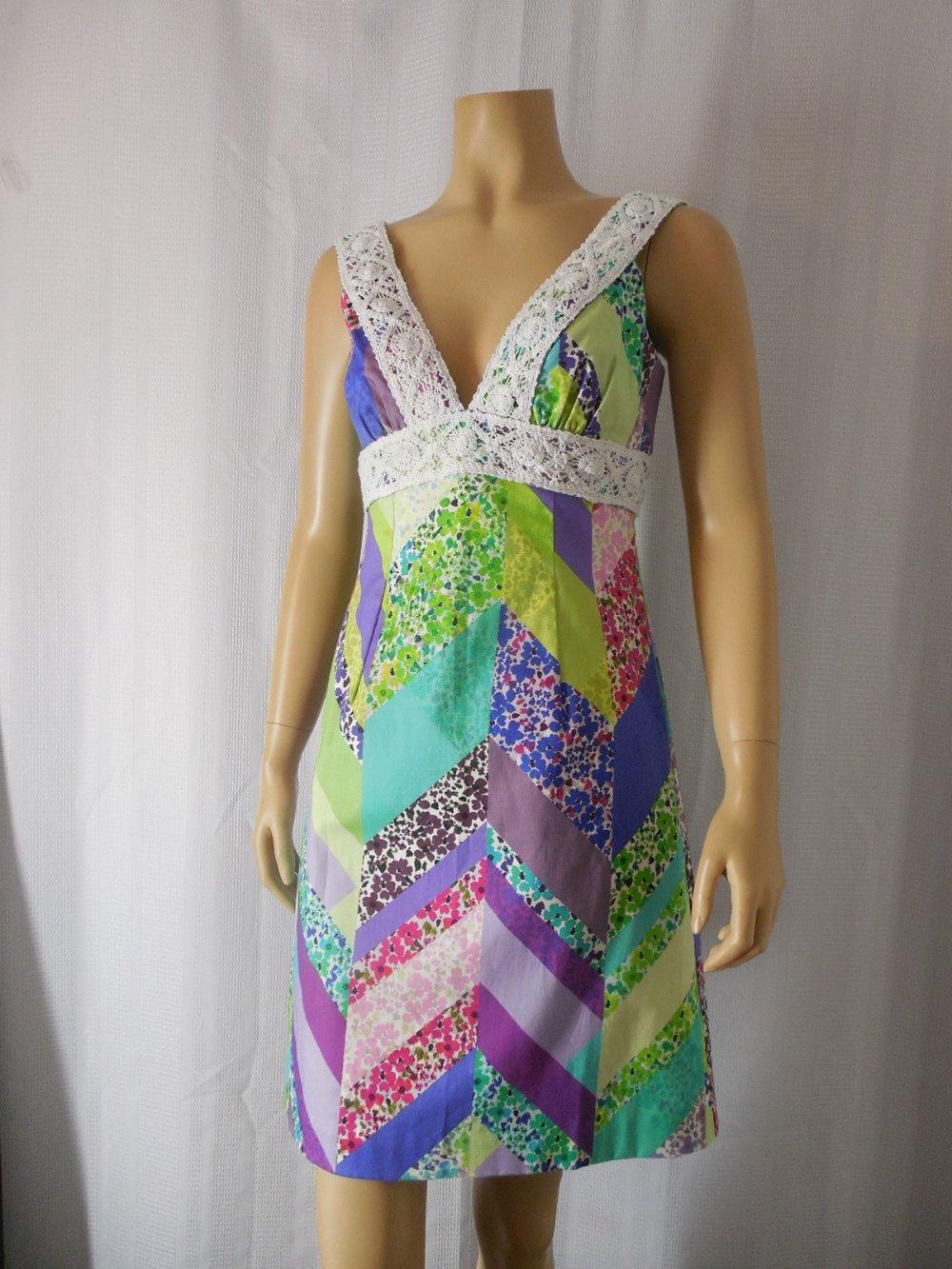 10d92234cb2 Details about TRINA TURK Sundress Dress 2 multi color patchwork print Lace  trim NEW