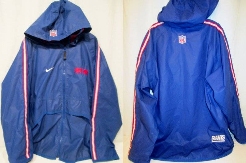 pretty nice 61e82 2b871 Details about Vintage New York Giants NFL Football Rain Jacket Embroidered  NIKE PROLINE L Hood