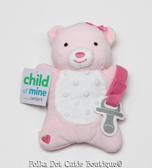 3cd826a37e7763 Details about NWT Carter s Child of Mine Pink Minky Dot Bear Pacifier  Holder Lovey