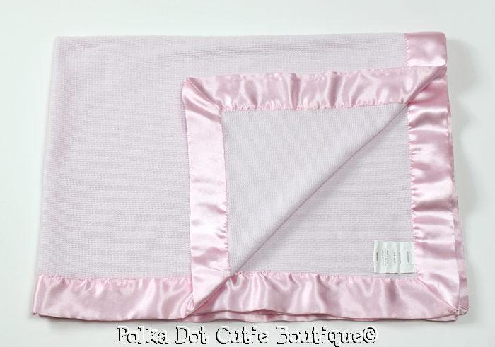 Kidsline Pink Thermal Waffle Weave Satin Trim Baby Blanket