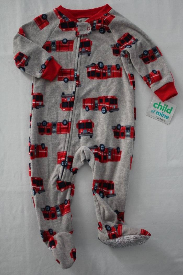 2627796951a6 NEW Baby Boys Footed Pajamas 6 - 9 Mo Fire Truck Fleece Blanket ...