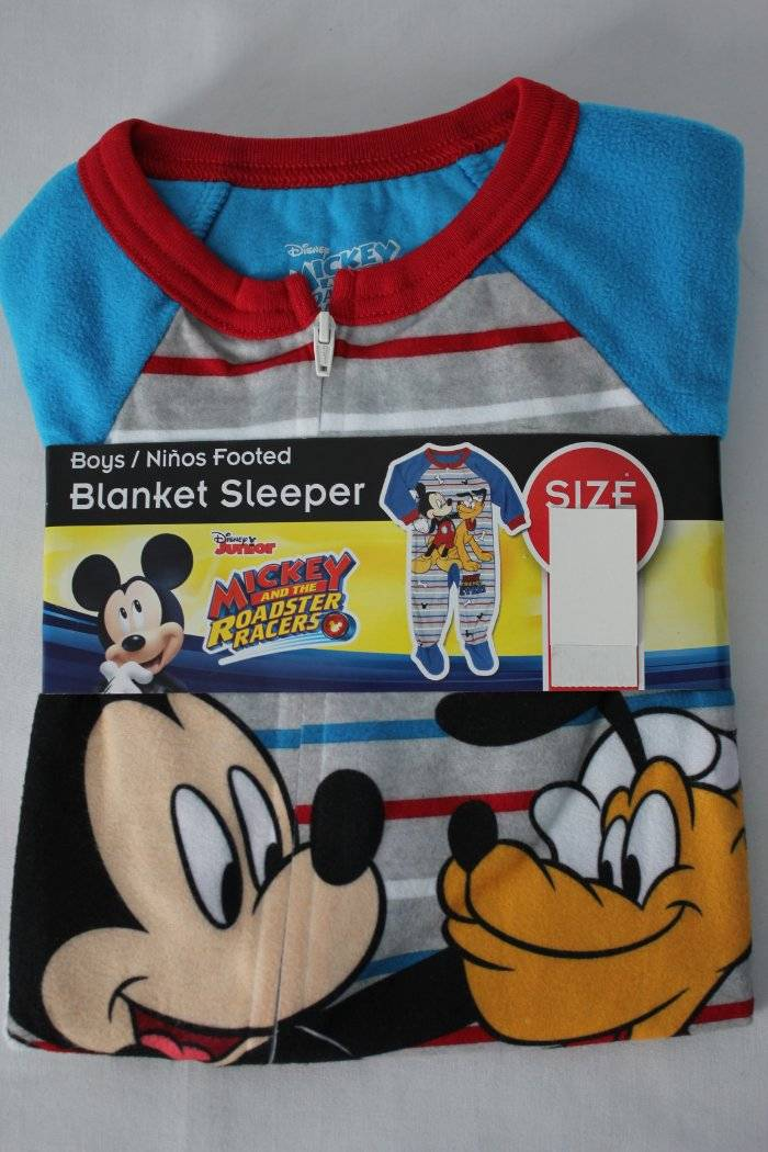 NEW Toddler Boys Footed Pajamas 2T Disney Mickey Mouse Pluto Blanket Sleeper PJs