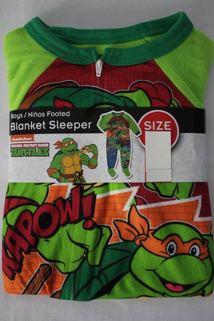 960ae39e6 NEW Boys Footed Pajamas 2T Teenage Mutant Ninja Turtles Blanket ...