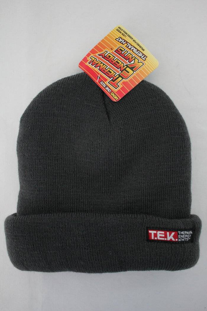 Details about NEW Mens Thermal Knit Hat Beanie Thick Warm Insulated Gray  Winter Cuffed Cap Ski c8eed2596f0