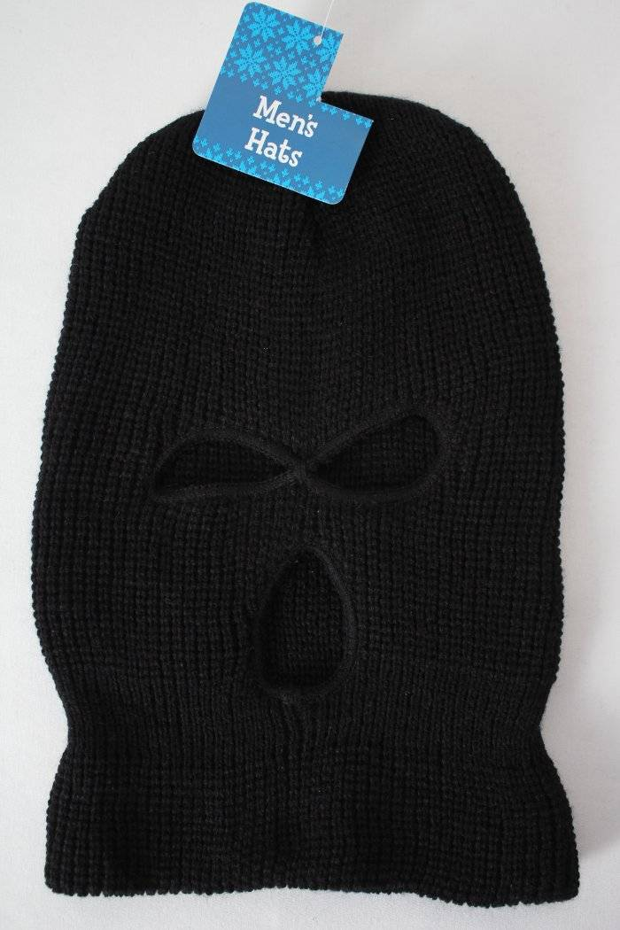 89f5d28d49a Details about Mens Balaclava Hat 3 Hole Face Mask Black Knit Cap Winter  Long Beanie Hunt Ski