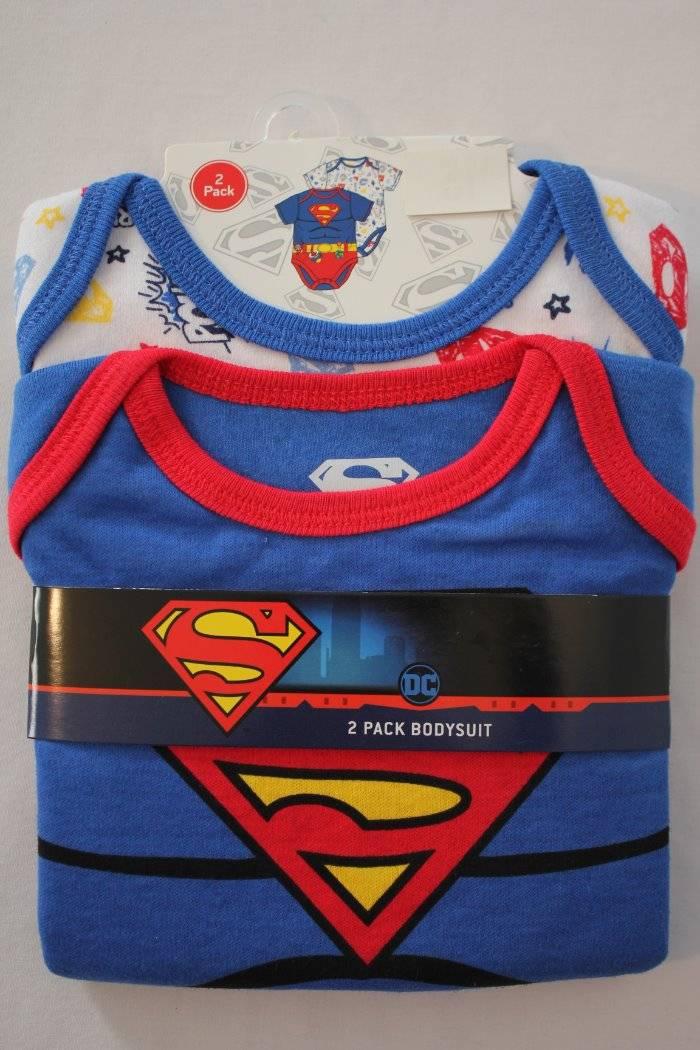 2 Pack Baby Boys Superman Bodysuit 0-3 Months Creeper Superhero One Piece Lot