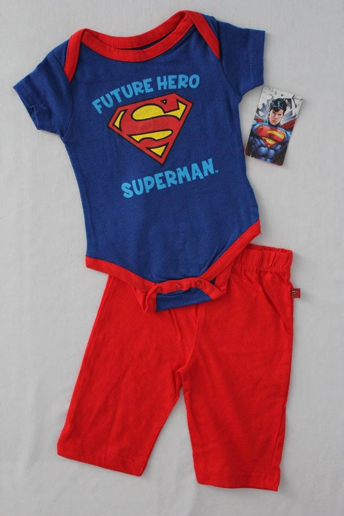 Baby Boy Superman Superhero 2 Long Sleeve Bodysuits Size 3 6 9 Months Layette
