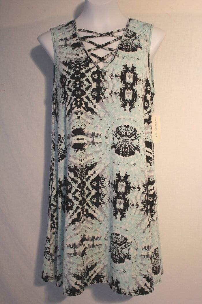 NEW Womens Sleeveless A-Line Dress Medium Above Knee Caged Front Tribal Pockets