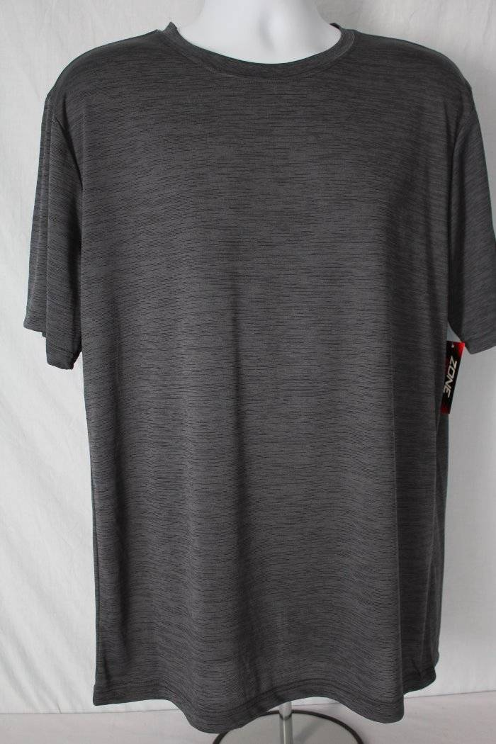 NEW Mens T Shirt Large Wicking Athletic Silky Top Black Gray Workout Run Gym