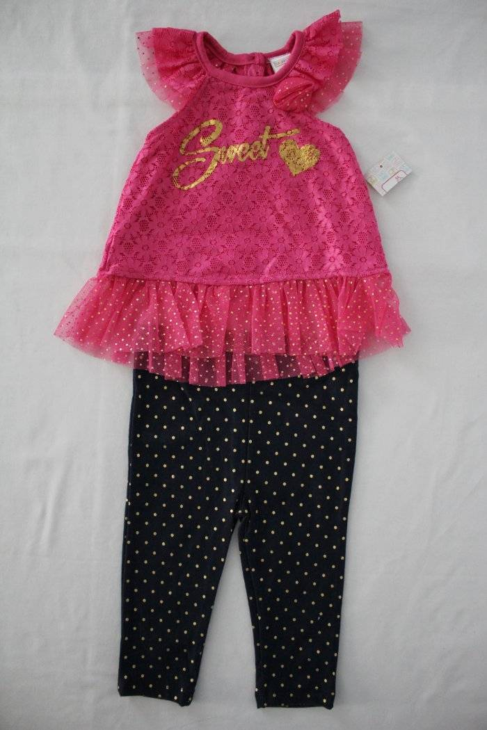 NEW Girls Pink 2 Piece Outfit Size 2T  Coral Top Soft Floral Leggings Set