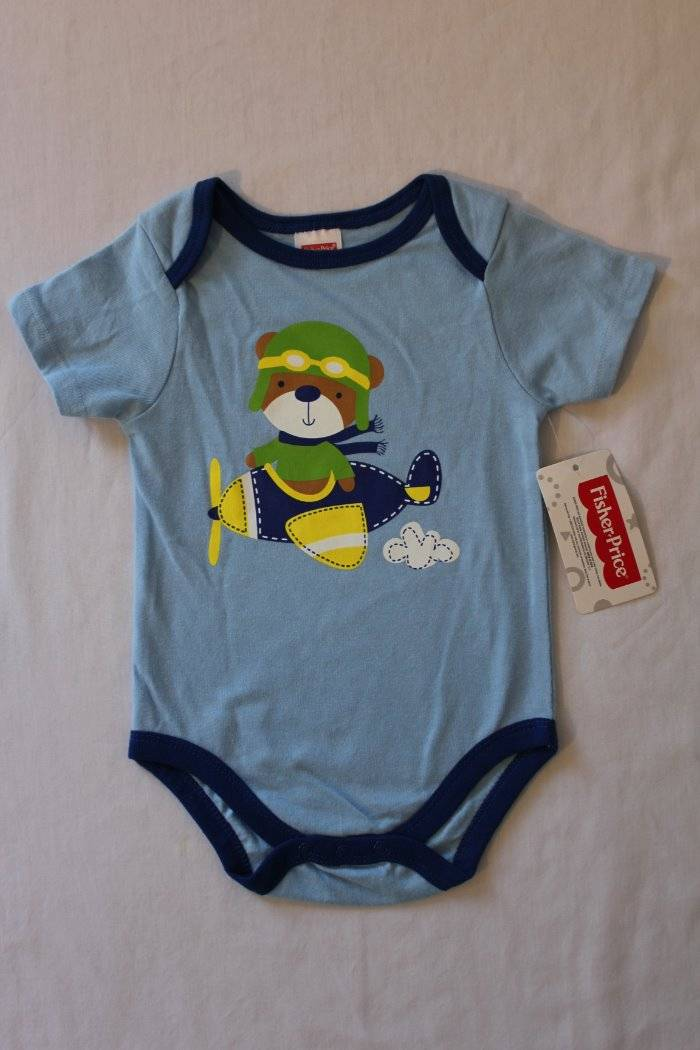 NEW Baby Boys Bodysuit 0-3 Months Backhoe Blue Creeper Outfit 1 Piece Infant
