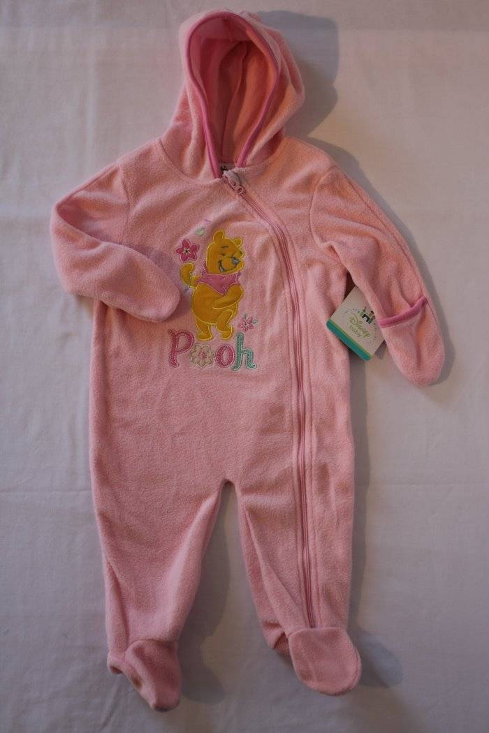 6bcf0e2e6 Details about NEW Baby Girls Winter Fleece Coverall 0 - 3 Month Pink Disney  Pooh Bear Snowsuit