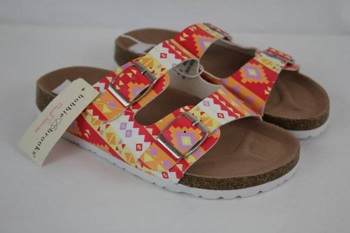 """Girls Flip Flops Large 2-3 Camouflage 2/"""" Wedge Sandals Shoes NEW with Defects"""