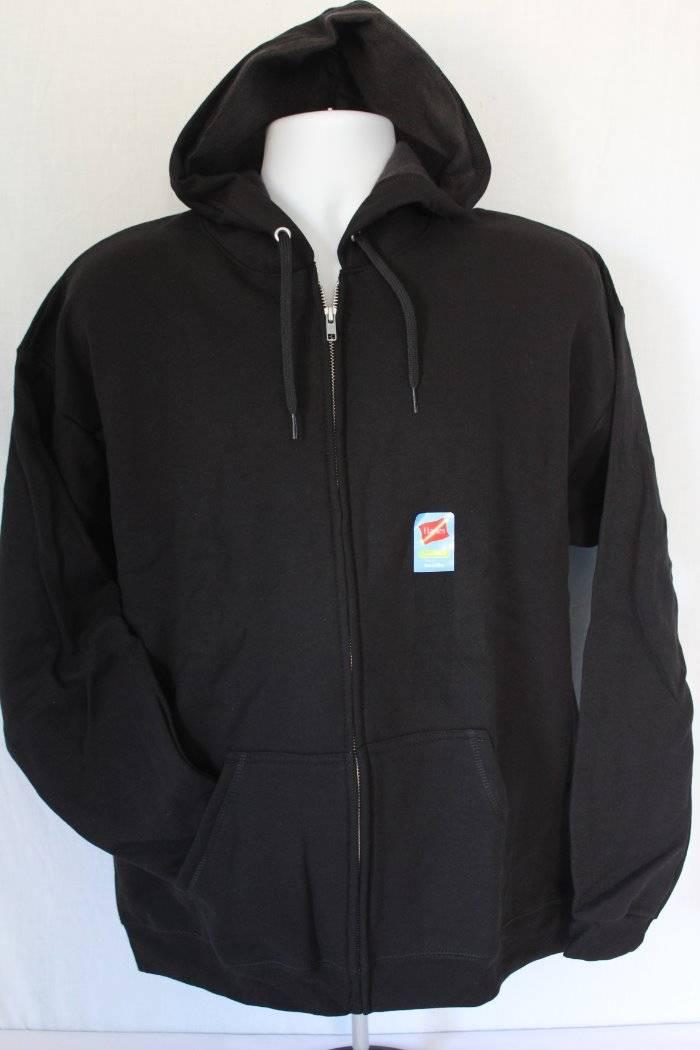 909e79fdac NEW Mens Hooded Jacket Small Black Full Zip Hoodie Hanes Sweatshirt Pockets  Gym