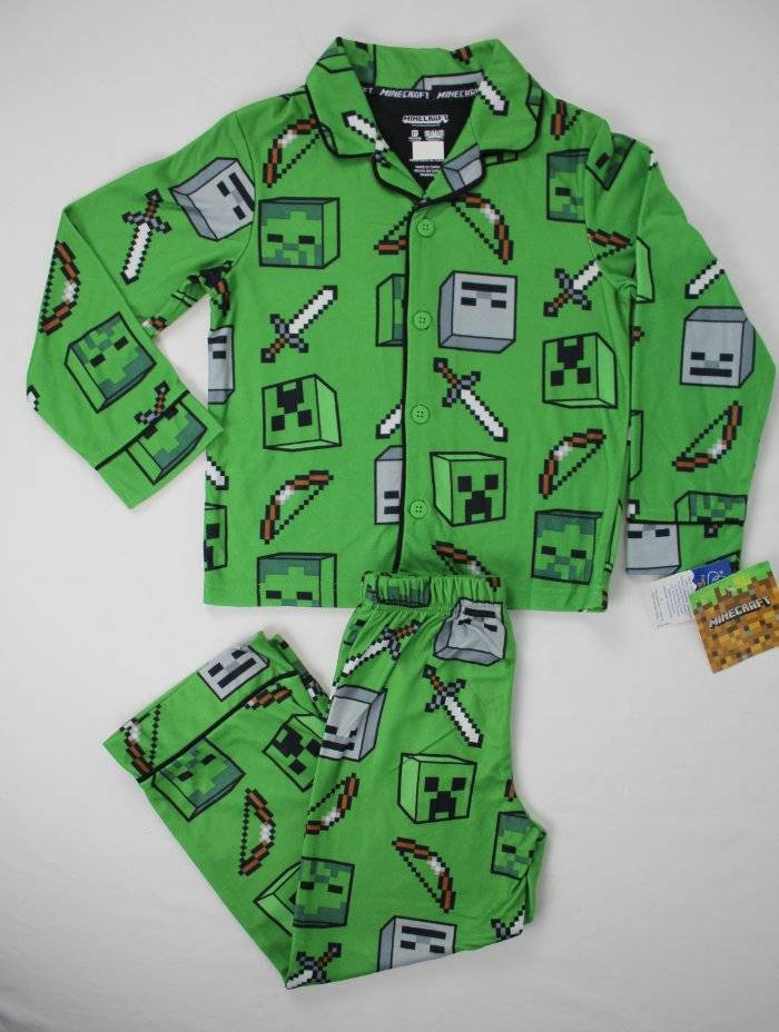 Minecraft Boys 2-Piece Knit And Flannel Pajama Set Size 4//5 OR 6//7