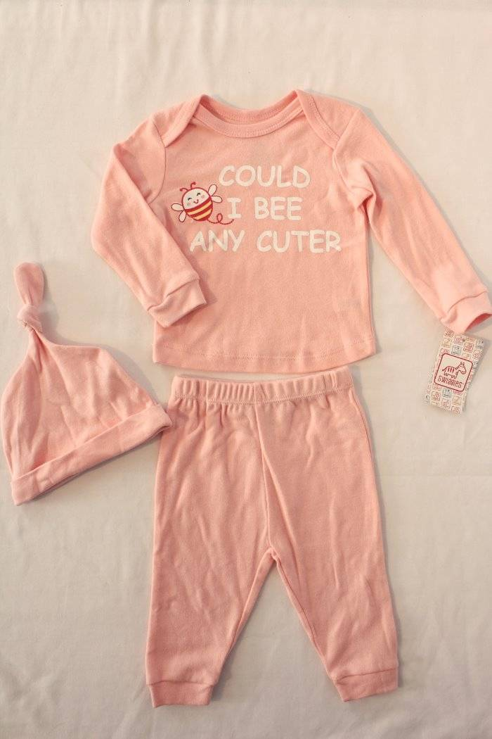 NEW Baby Girls 2 Pc Layette Set 0-3 Months Top Shirt Hat Outfit Princess Pink