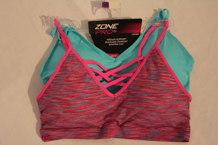 b5832e7d57 Details about NEW Lot 2 Womens Padded Sports Bras Size XL Pink Blue  Underwear Medium Support