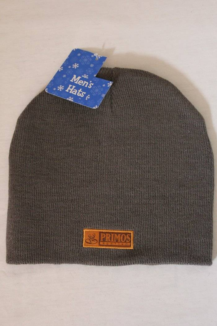 New Mens Primos Hunting Beanie Hat Knit Cap Gray One Size Deer Game Call