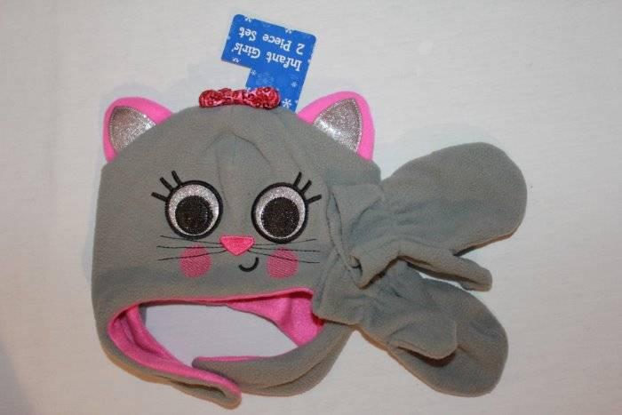 NEW Girls Trapper Critter Hat Mittens Set Knit Cap Blue Pink Cat Kitten Ear Flap