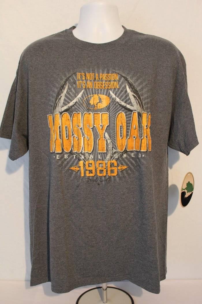 7a79e7c0848524 NEW Mens Mossy Oak T Shirt XL Top Buck Deer Hunting Graphic Tee Gray ...