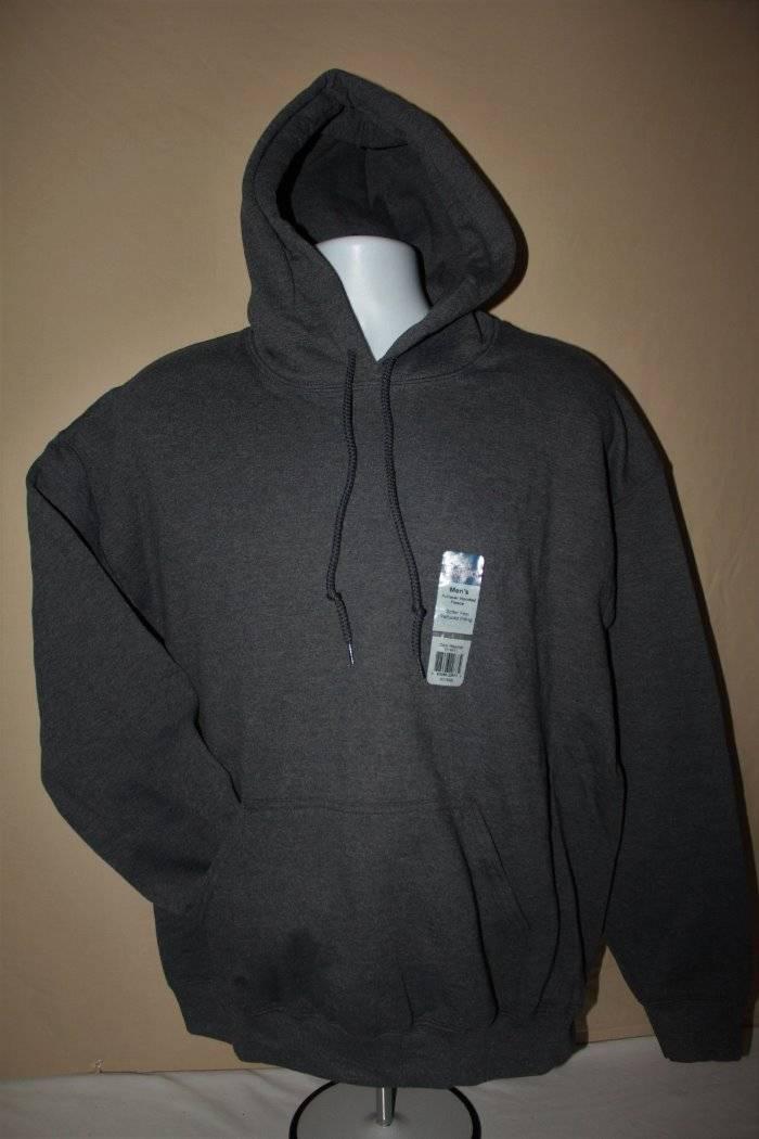 NEW Mens Hooded Sweatshirt Large Dark Gray Gildan Fleece Pullover Hoodie 50//50