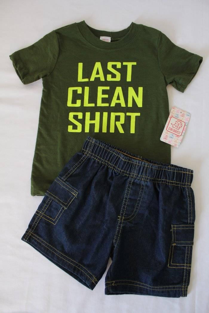 4ce2e92ca158 NEW Baby Boys 2 Piece Set Size 12 Months Outfit Last Clean T Shirt ...