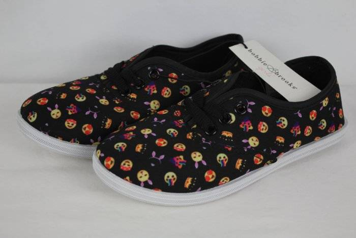 Black Canvas Sneakers Emoji Icons Lace