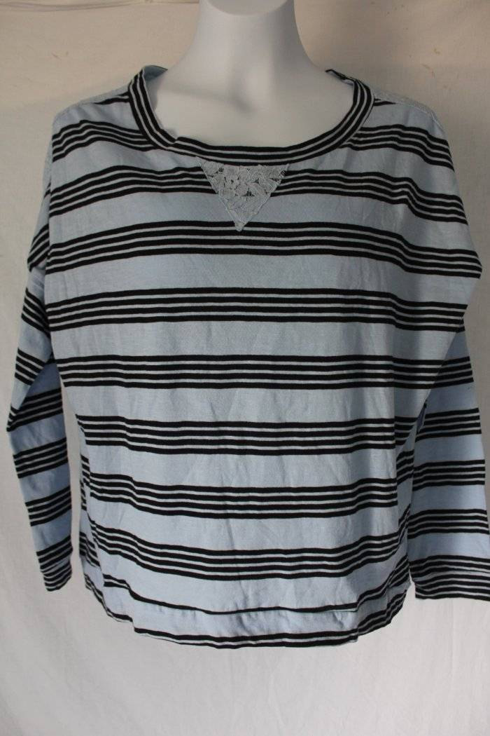 ef77830c2b3 Details about NEW Womens Blouse Size Large Top Blue Striped Shirt Lace Back  Loose Fit Cotton