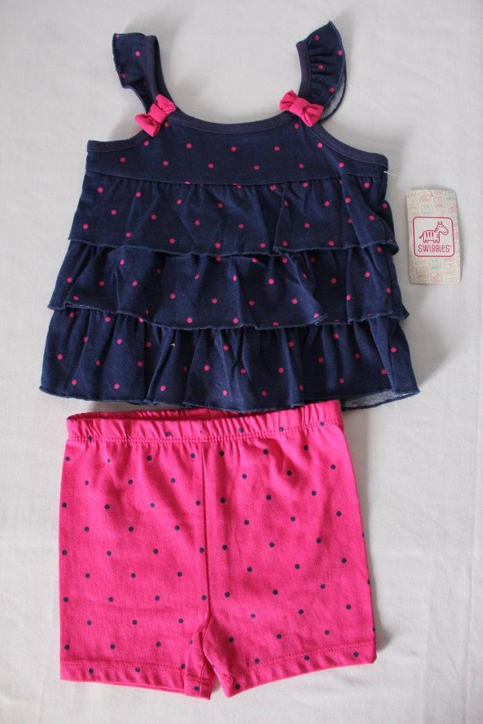 5dec83ead Details about Baby Girls 2 Piece Set Size 6 - 9 Months Tank Top Shirt  Shorts Outfit Blue Pink