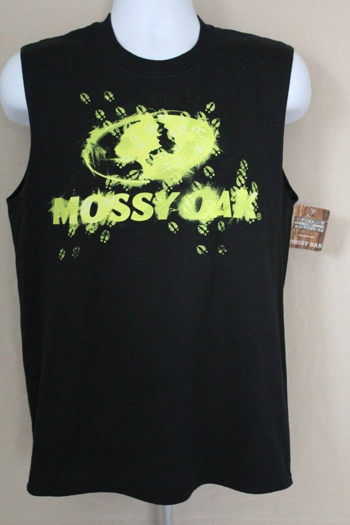 a5f76f60184447 NEW Mens Tank Top Mossy Oak Muscle T Shirt Large Deer Hunting Camo Graphic  Tee With Tracks