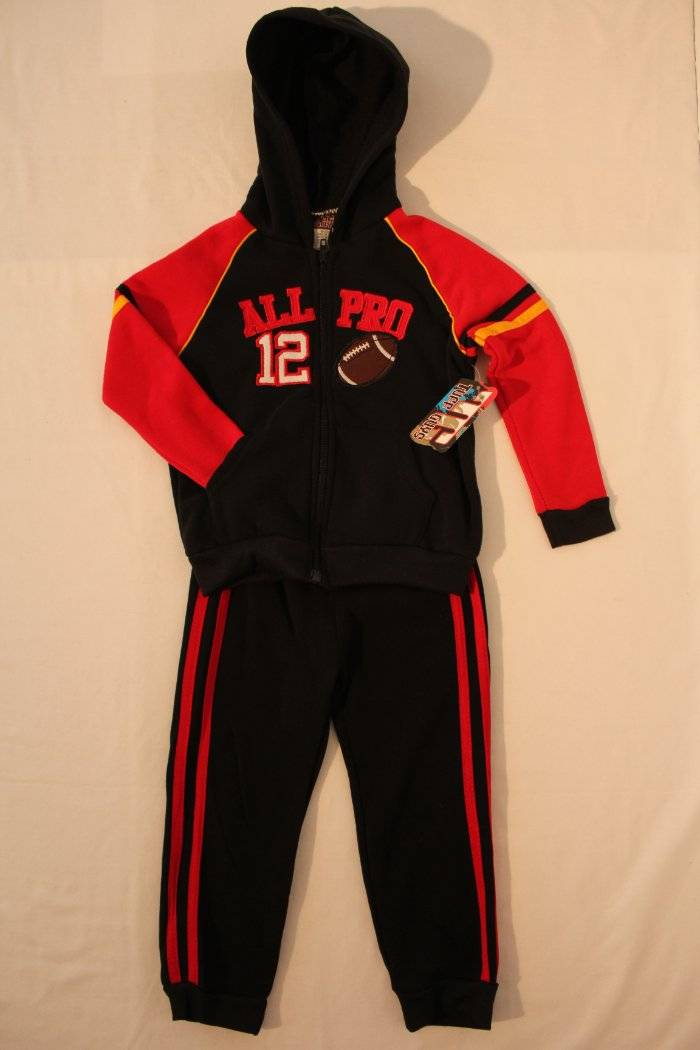 26ff15732d22 NEW Boys 2 piece Set Size 2T Hooded Zip Jacket Pants Outfit Red ...
