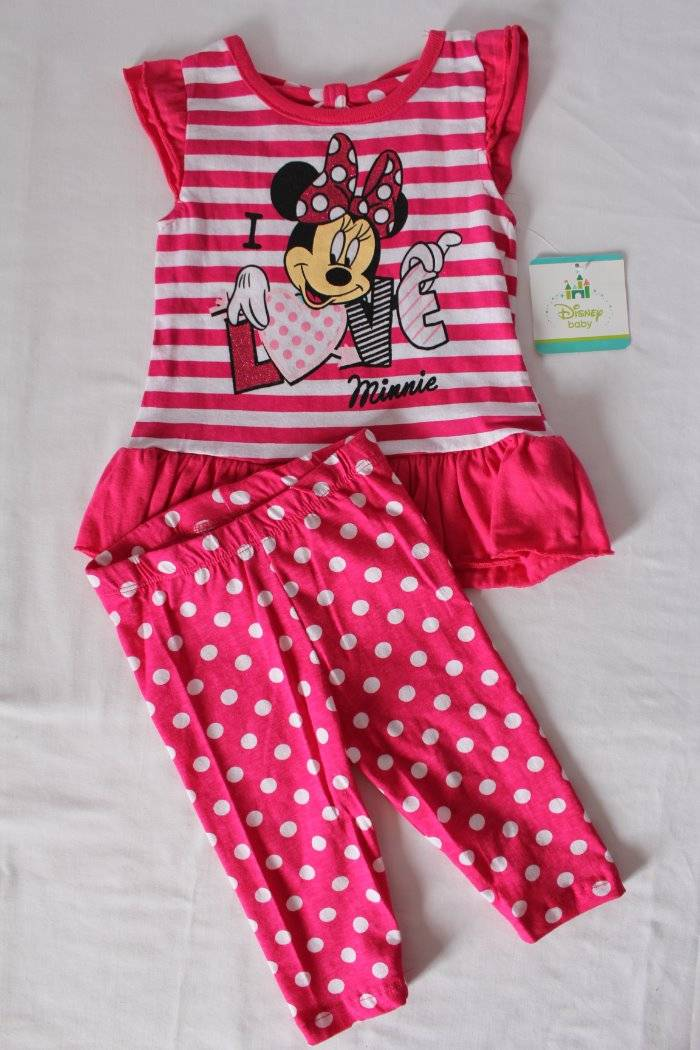 DISNEY MINNIE MOUSE BABY 2 PIECE FRILL TOP AND LEGGINGS SET