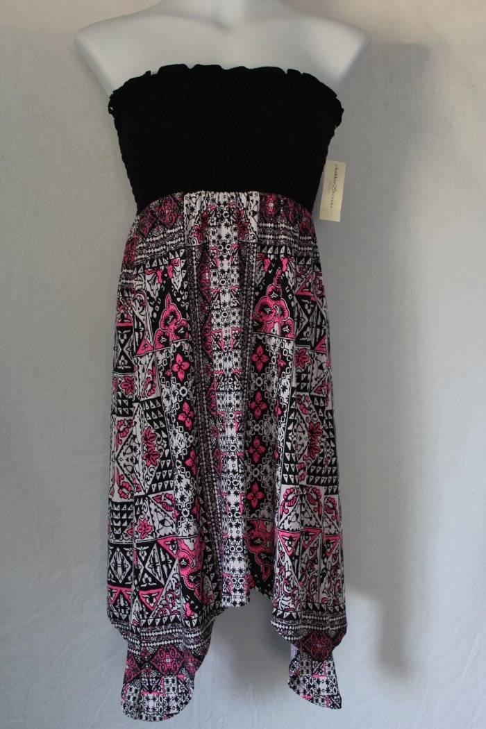 New Womens Strapless Dress Plus Size 1x Asymmetric Hem