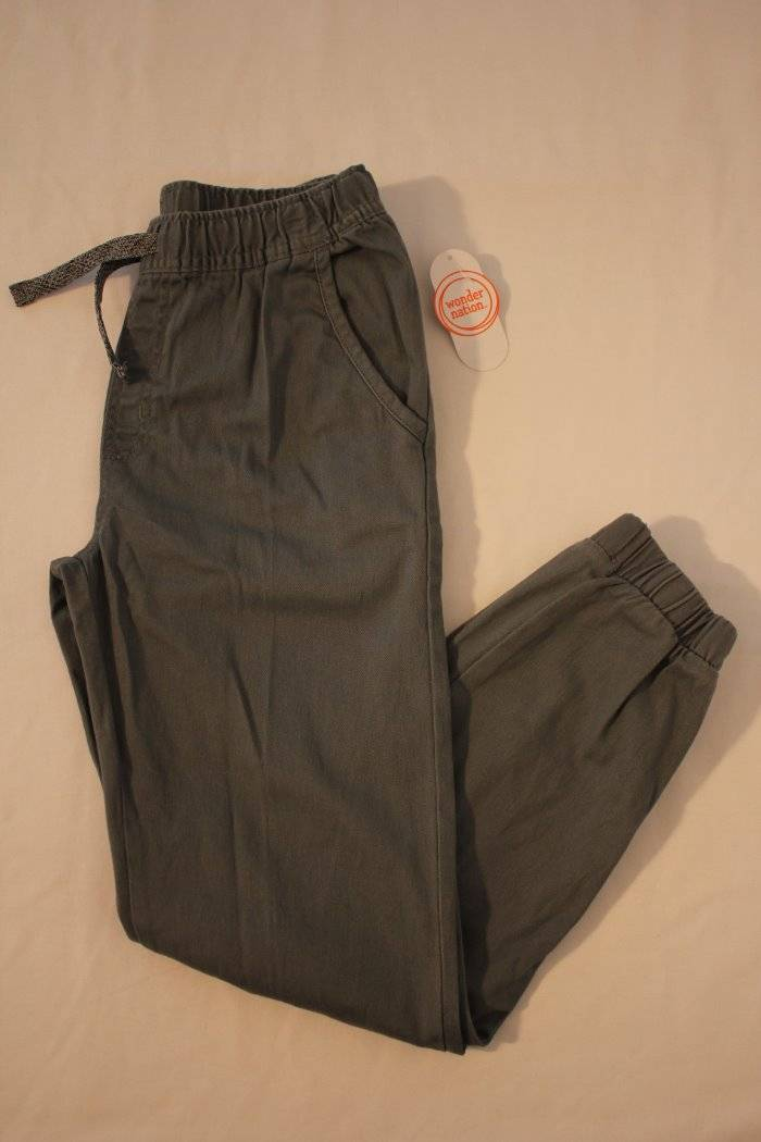 Boys Pants Large 10-12 Blue Pull on Pockets Casual Stretch Drawstring Cuffed
