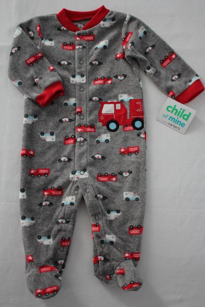 4519688ad7f5 NEW Baby Boys Footed Pajamas Newborn Firetruck Fleece Sleeper ...