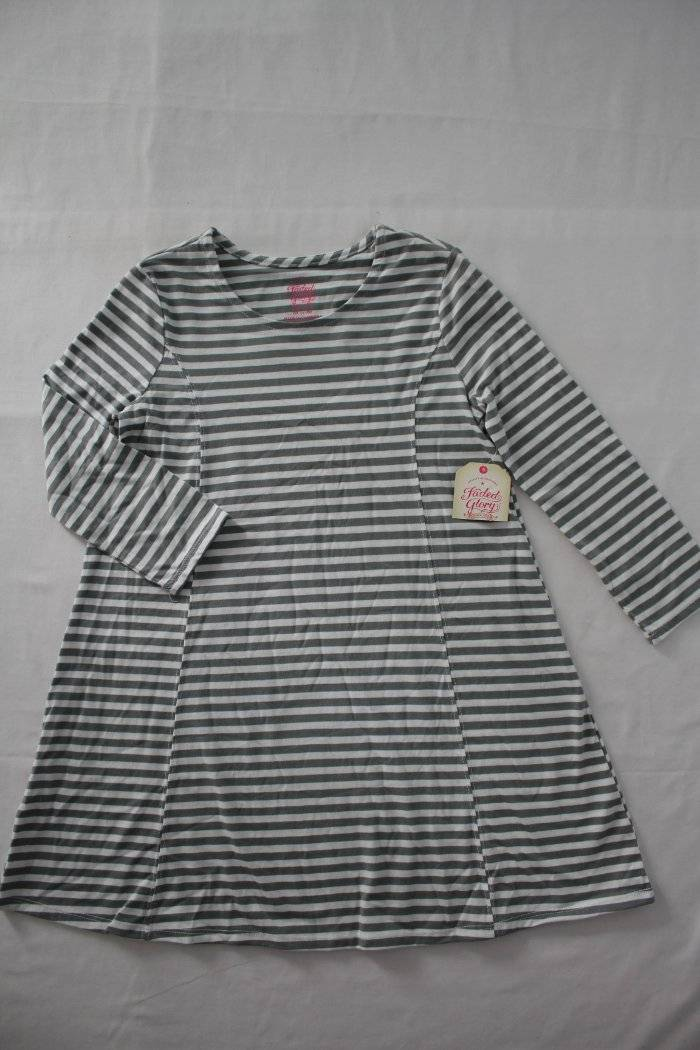 NEW Girls Knit Swing Dress Size Medium 7-8 Gray Striped A-Line Long Sleeve