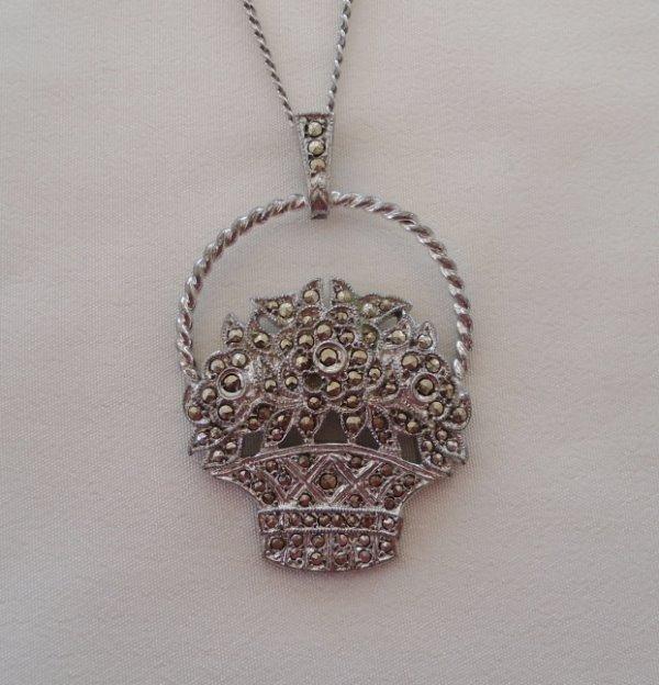 3d4242eba48f6 Details about Antique Sterling Silver Marcasite Necklace Pendant Earring  Set Flower Basket