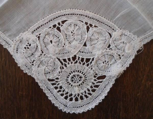 true vintage small battenburg lace bridal hanky handmade white tape