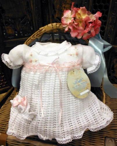 Will-039-beth-Newborn-Reborn-Preemie-Baby-Girl-White-Pink-Dress-Set-Headband-NWT