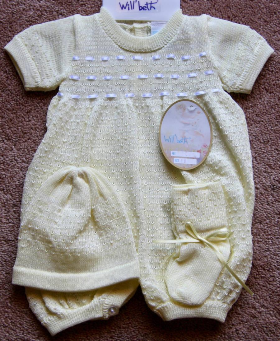 Will-039-beth-Newborn-Preemie-Boy-Unisex-Yellow-Knit-Romper-Hat-Booties-Dolls