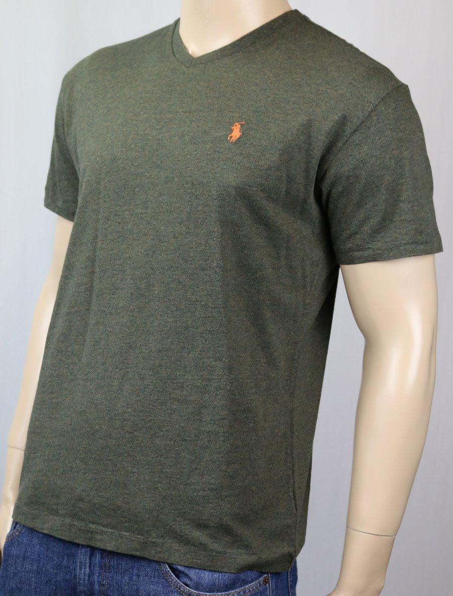 Polo Ralph Lauren Olive Green V Neck Classic Tee T Shirt Orange Pony