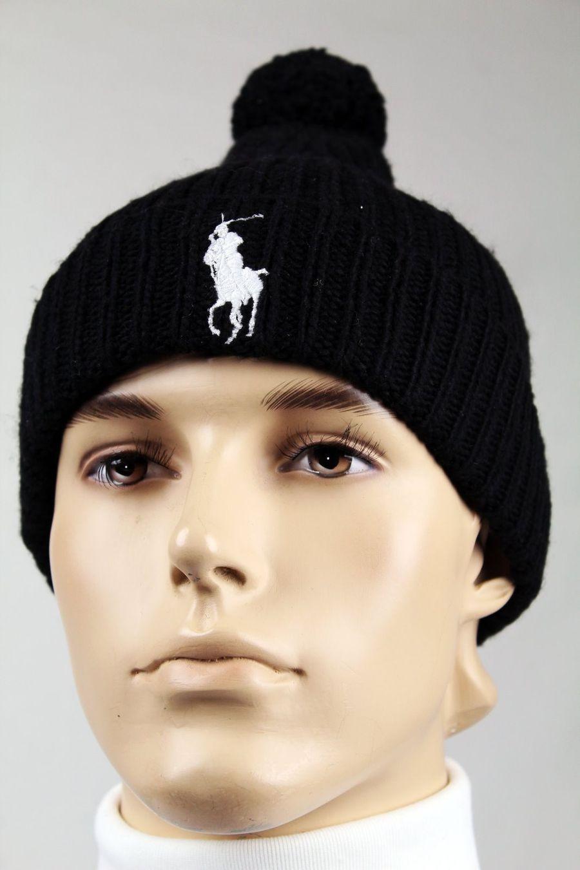 f3d4e217d Polo Ralph Lauren Black Wool Beanie Hat Skull White Big Pony NWT | eBay