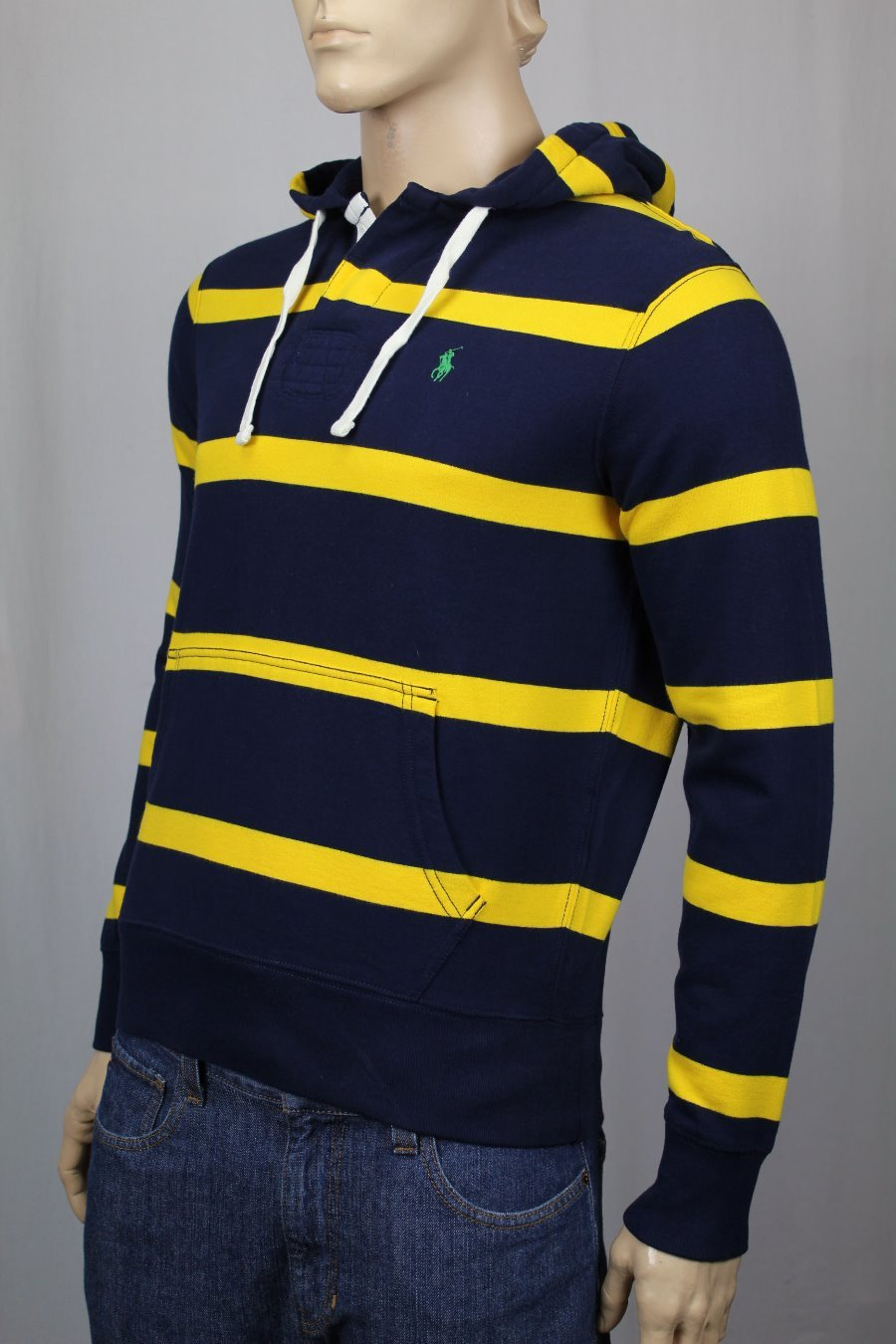 da3ccdee06e Details about Polo Ralph Lauren Navy Blue Yellow Rugby Hoodie Sweatshirt  Green Pony NWT