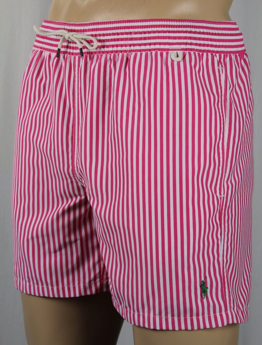 55f3aa7d6c Details about Polo Ralph Lauren Pink Striped Green Pony Swim Shorts Trunks  NWT